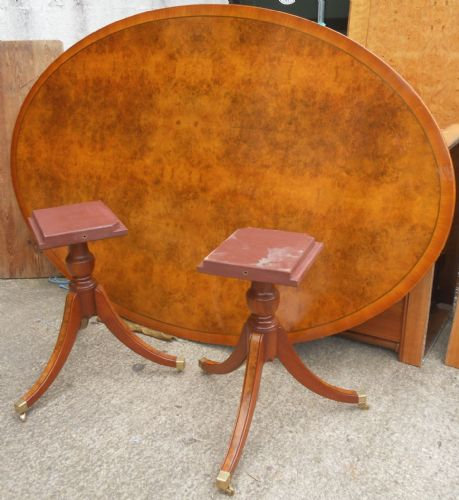 Huge Oval Walnut Twin Pillar Dining Table to Seat Ten